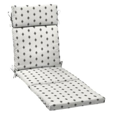 21 in. x 29.5 in. Outdoor Chaise Lounge Cushion in Black and White Diamond Geo
