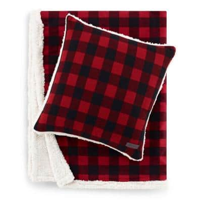 Cabin Red Plaid Sherpa Reverse 2-Piece Throw Blanket and Pillow Set