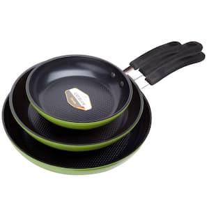 Green Earth 3-Piece Aluminum Ceramic Nonstick Frying Pan Set in Green