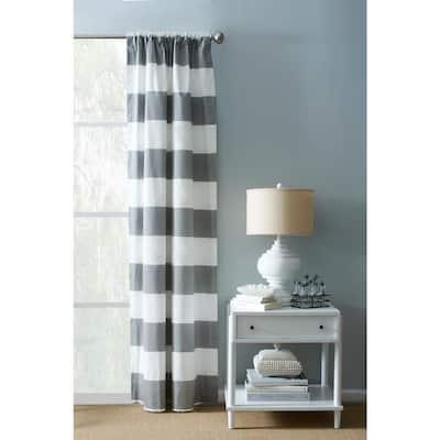 Grey and White/Matte Striped Rod Pocket Room Darkening Curtain - 54 in. W x 108 in. L