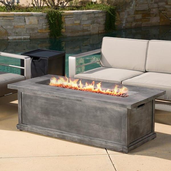 Noble House Cape Coral Khaki 5 Piece Aluminum Patio Fire Pit Conversation Set With Cushions 10024 The Home Depot