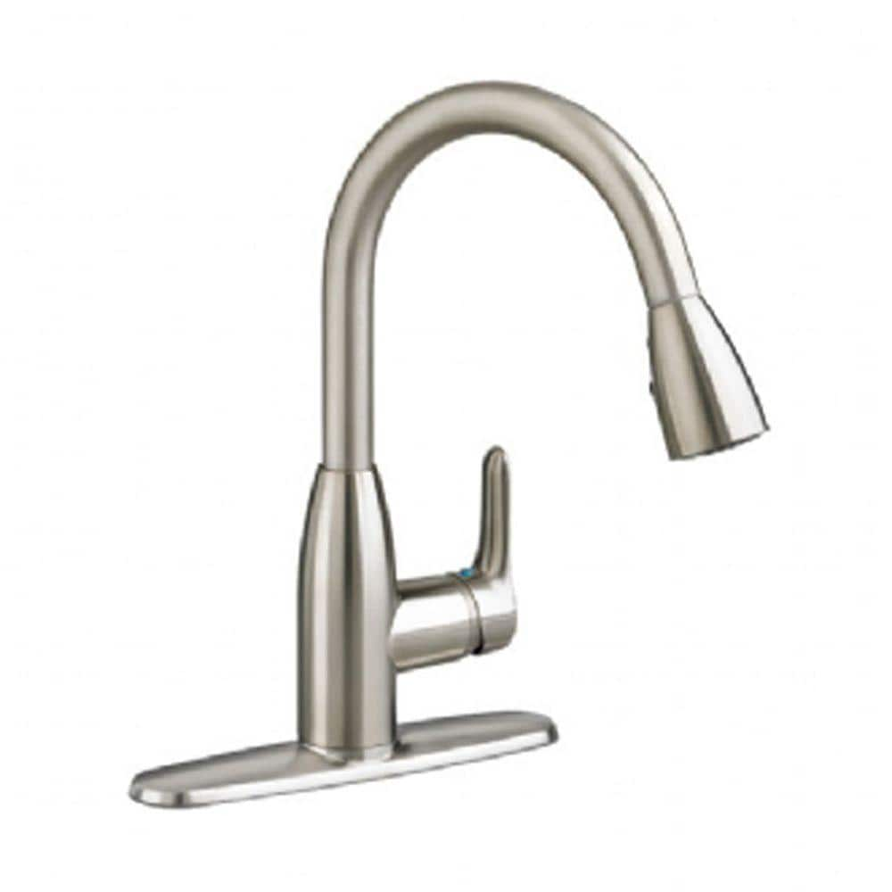 American Standard Colony Soft Single Handle Pull Down Sprayer Kitchen Faucet 2 Gpm In Stainless Steel 4175300 075 The Home Depot