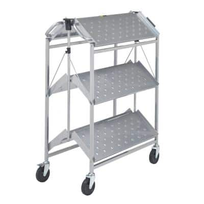 Folding Master Busing Cart, 3-Shelf Grey 550 lb. Cap with 5 in. Swivel Caster