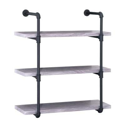 Staci 34.75 in. Light Grey Wood 3-Shelf Accent Bookcase