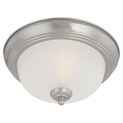 2-Light Brushed Nickel Ceiling Flush Mount