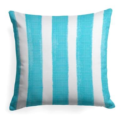 Caravan Aqua Square Outdoor Throw Pillow