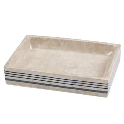 Ticking Stripe Soap Dish in Blue