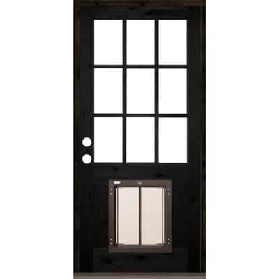 36 in. x 80 in. Right-Hand 9 Lite Clear Glass Black Stained Wood Prehung Door with Large Dog Door