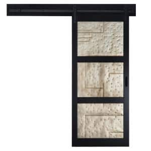 36 in. x 84 in. Metal Works Black Rustic T in. Inserts Solid Core Interior Sliding Barn Door with Rustic Hardware Kit