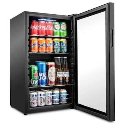 19 in. 126 Can Freestanding Beverage Cooler Refrigerator with Adjustable Shelves - Black