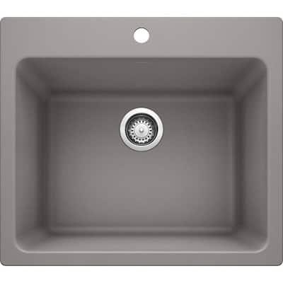 Liven 25 in. x 22 in. x 12 in. Granite Undermount Laundry Sink in Metallic Gray