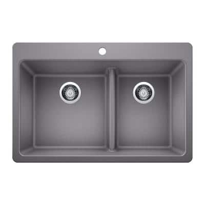 Drop-in/Undermount Granite Composite 33 in. 1-Hole 60/40 Double Bowl Kitchen Sink with Low Divide in Gray