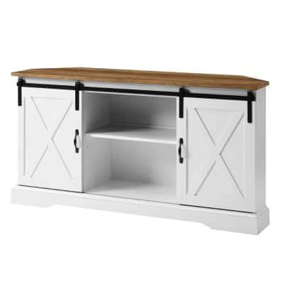 52 in. Reclaimed Barnwood and Solid White Wood Farmhouse Corner TV Stand with 2-Sliding Barn Doors fits TVs up to 58 in.