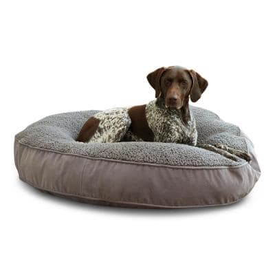 Scout Deluxe Large Round Gray Sherpa Dog Bed