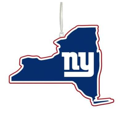 New York Giants 5 in. NFL Team State Christmas Ornament