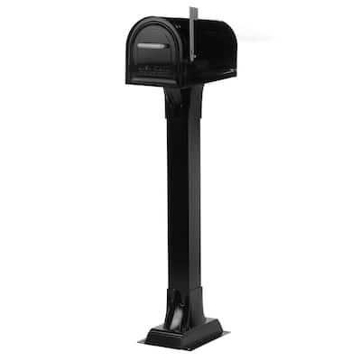 Reliance Black Locking Mailbox with Pedestal Post Kit