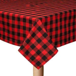 Buffalo Check 60 in. x 120 in. Black/Red 100% Cotton Table Cloth for any Table
