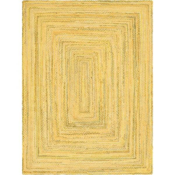 Unique Loom Braided Chindi Yellow 9 Ft X 12 Ft Area Rug 3142712 The Home Depot