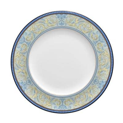 Menorca Palace Blue/Yellow White Bone China Accent Plate 9 in.