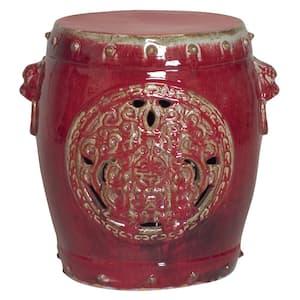 Dragon Medallion Red Ceramic Outdoor Garden Stool