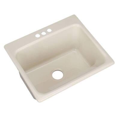 Kensington Drop-In Acrylic 25 in. 3-Hole Single Bowl Utility Sink in Almond