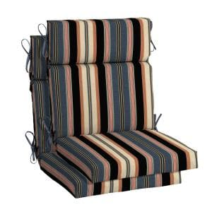 21.5 in. x 24 in. Bradley Stripe High Back Outdoor Chair Cushion (2-Pack)