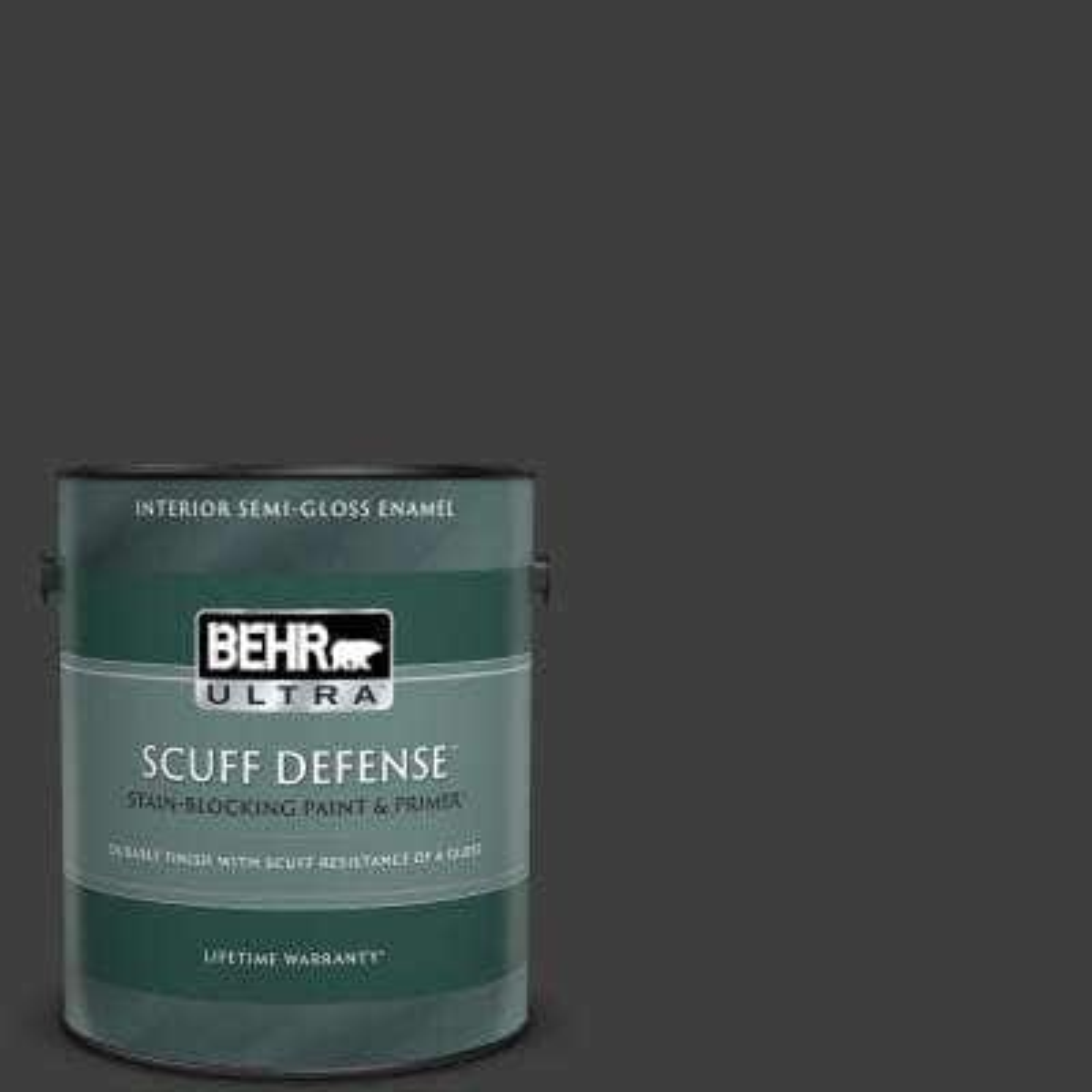 1 gal. #T13-3 Black Lacquer Extra Durable Semi-Gloss Enamel Interior Paint & Primer