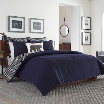 Kingston 2-Piece Navy Blue Plaid Reversible Solid Cotton Twin Comforter Set