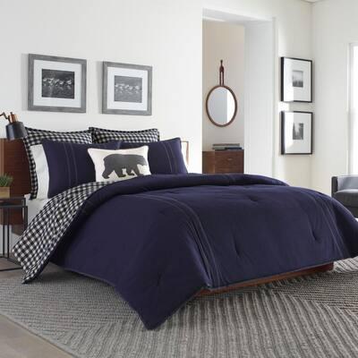Kingston 3-Piece Navy Blue Plaid Reversible Solid Cotton Full/Queen Comforter Set