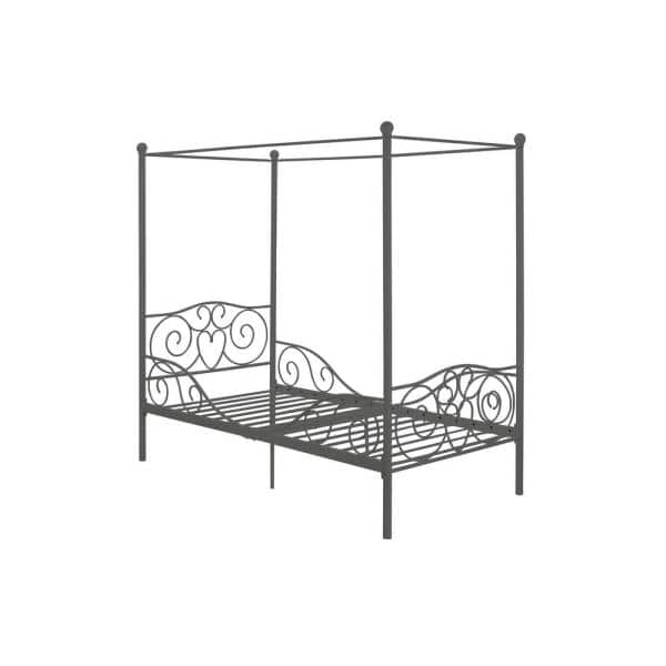 DHP Pewter Twin Canopy Bed | The Home Depot