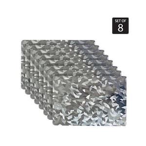 Metallic Leaf 18 in. x 12 in. Grays Vinyl Placemats (Set of 8)