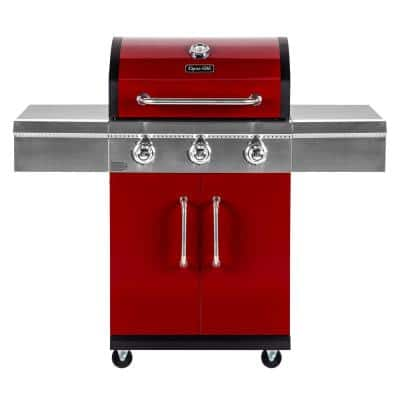 3-Burner Propane Gas Grill in Red