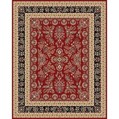 Lyndhurst Red/Black 9 ft. x 12 ft. Border Antique Floral Area Rug