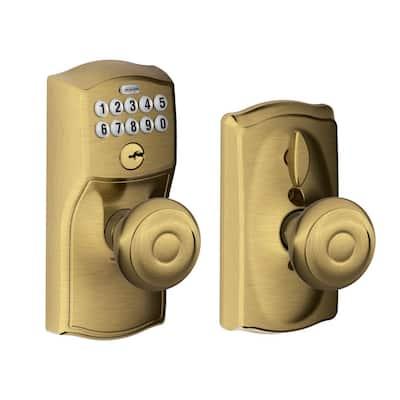 Camelot Antique Brass Electronic Door Lock with Georgian Door Knob Featuring Flex Lock