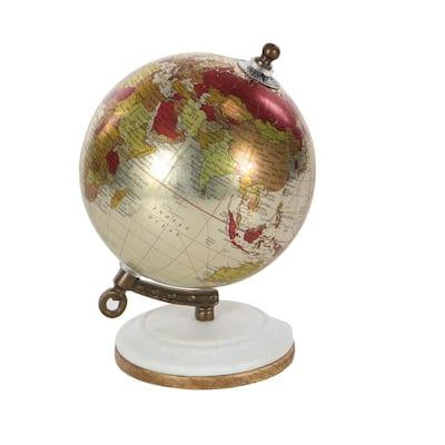 Litton Lane White Marble Modern Decorative Globe