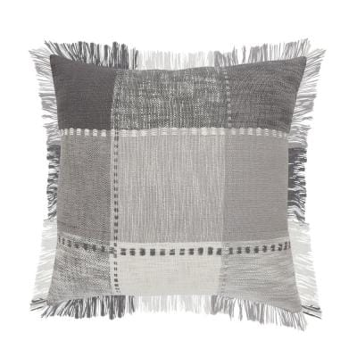 Angelica Aluminum Gray / White Striped Plaid Fringed Casual Soft Poly-Fill 20 in. x 20 in. Throw Pillow