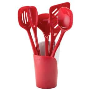 Melamine Red Utensils and Crock (Set of 6)