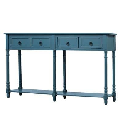 58 in. L Antique Navy Console Table with Storage Drawers Shelf