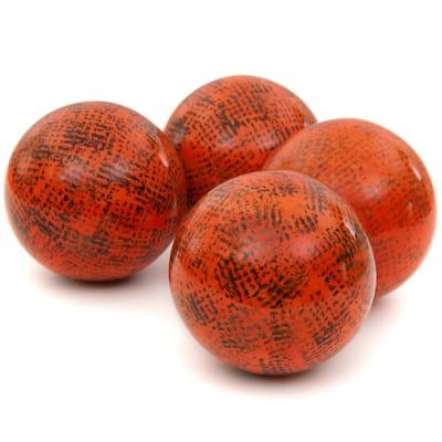 4 in. Sponged Dark Orange Porcelain Ball Set