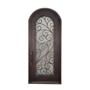 40 in. x 96 in. Aged Bronze Right-Hand Inswing with 1 Lite Clear Double-Glazed Glass Iron Prehung Front Door