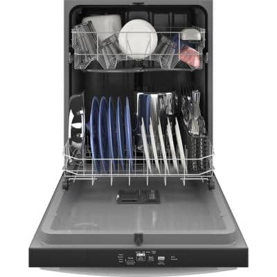 24 in. in Black Top Control Built-In Tall Tub Dishwasher 120-volt with Steam Cleaning