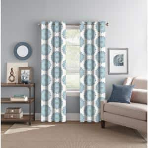 Indigo/Aqua Medallion Back Tab Room Darkening Curtain - 52 in. W x 84 in. L