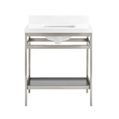 Melton 30 in. W x 21 in. D Bath Vanity in Brushed Nickel with Engineered Vanity Top in White with White Basin