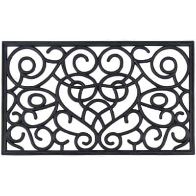 Iron Heart 18 in. x 30 in. Wrought Iron Rubber Mat