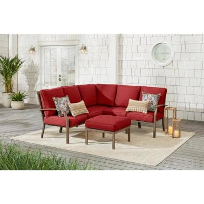 Geneva 6-Piece Brown Wicker Outdoor Patio Sectional Sofa Seating Set with Ottoman and CushionGuard Chili Red Cushions