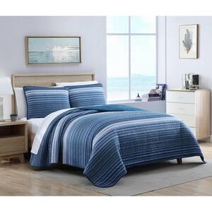 Coveside 2-Piece Blue Striped Cotton Twin Quilt Set