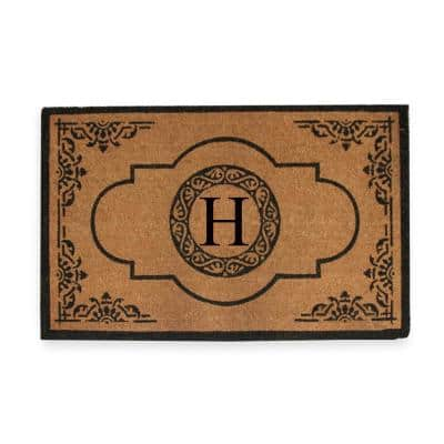 Abrilina Handcrafted 30 in. x 48 in. Entry Coir Double Door Monogrammed-H Mat