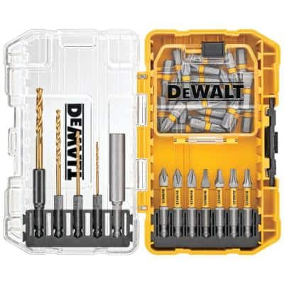 Driving Bit and Black Oxide Drill Bit Set with Right Angle Adapter and Tough Case (40-Piece)