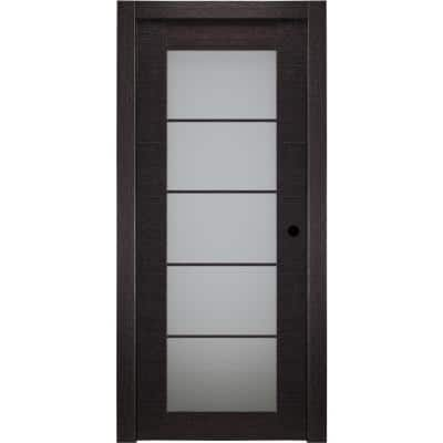 36 in. x 80 in. Avanti Black Apricot Left-Hand Solid Core Wood 5-Lite Frosted Glass Single Prehung Interior Door