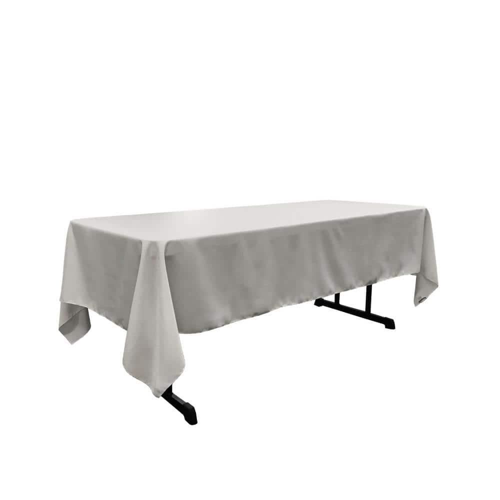 La Linen Polyester Poplin 60 In X 108 In Light Grey Rectangular Tablecloth Tcpop60x108 Graylightp41 The Home Depot